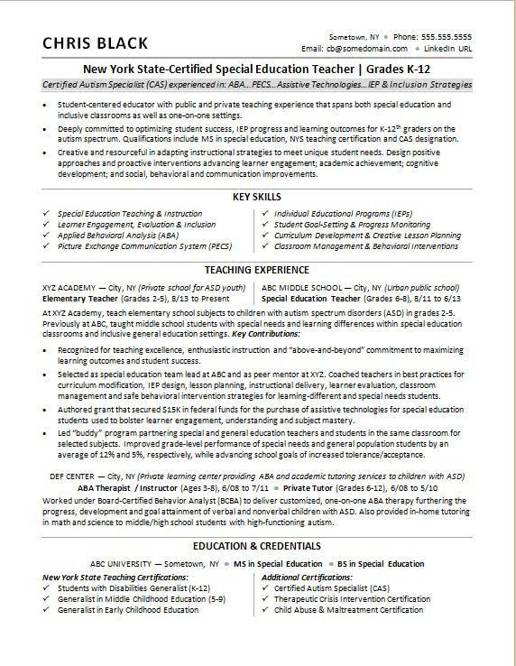 Sample resume for a teacher Teacher resume template