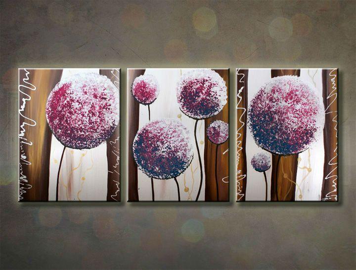 Ručne maľovaný obraz KVETY 3 dielny 120x50cm 178/MO