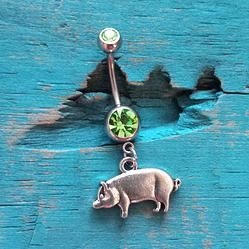 Pig Belly Button Ring Green