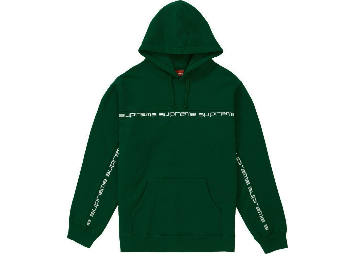 Pre Owned Supreme Text Stripe Hooded Sweatshirt Dark Green Modesens Hooded Sweatshirts Sweatshirts Dark Green [ 1000 x 1400 Pixel ]