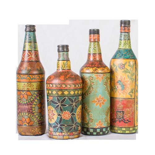 Glass Decorative Bottles Earth De Fleur Homewares  Hand Painted Glass Decorative Bottles