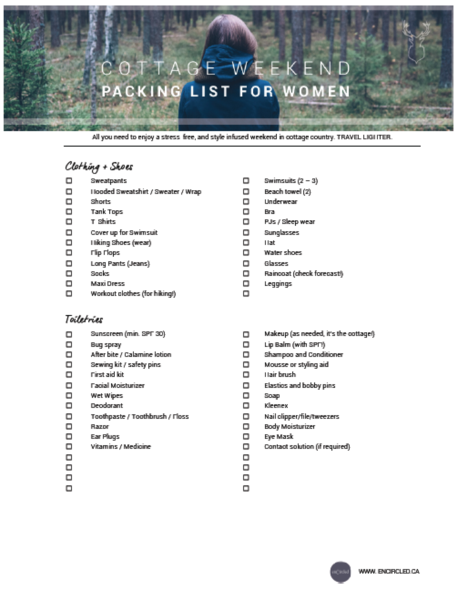 Cottage Weekend Packing List For Women Weekend Packing