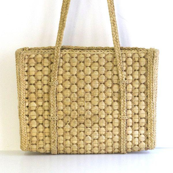 grand sac en paille vintage wwwbaosfr concept store vintage et contemporain - Baos Vintage