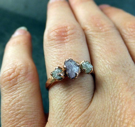 Raw Pink Diamond Rose Gold Engagement Ring Wedding Ring Custom One