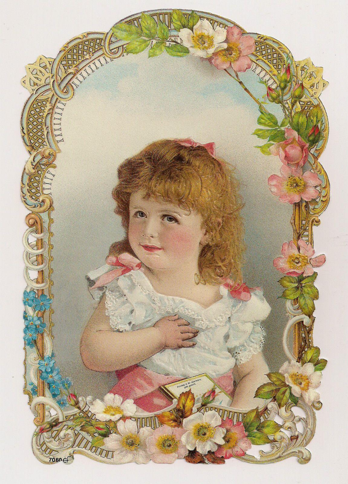 Ernst Freihoff (Germany) — Flower Framed Mirror Girl Child