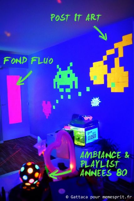 soir e d 39 anniversaire fluo party deco pinteres. Black Bedroom Furniture Sets. Home Design Ideas