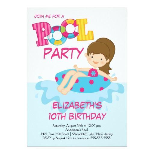 Girl Birthday Summer Pool Party Invitation  Summer Birthday Party