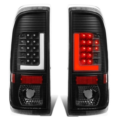 97 02 Ford Expedition Led Tail Lamps Lights Brake Black Housing Clear Lens Pair