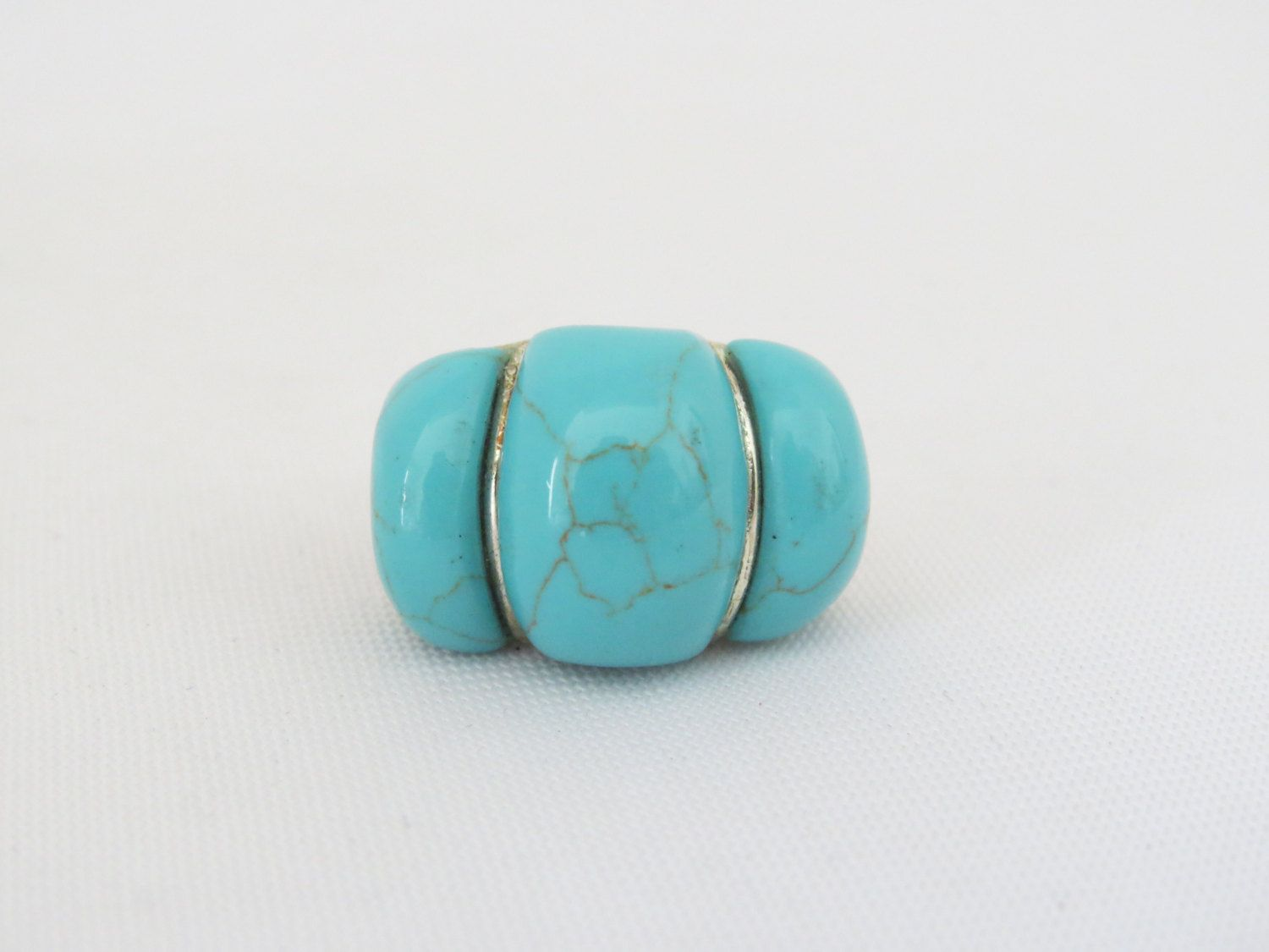 Vintage Sterling Silver Turquoise Bold Dome Ring Size 8 by wandajewelry2013 on Etsy