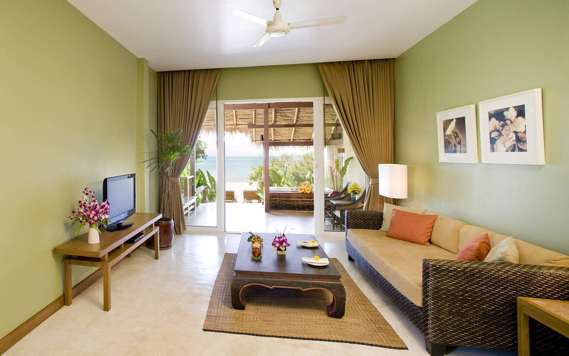 Lovely Living Room Interior Nuance With Calm Green Wall Paint