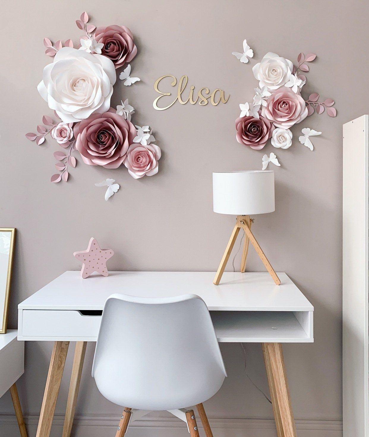 Elegant Paper Flower Set Nursery Paper Flowers Nursery Wall Decor