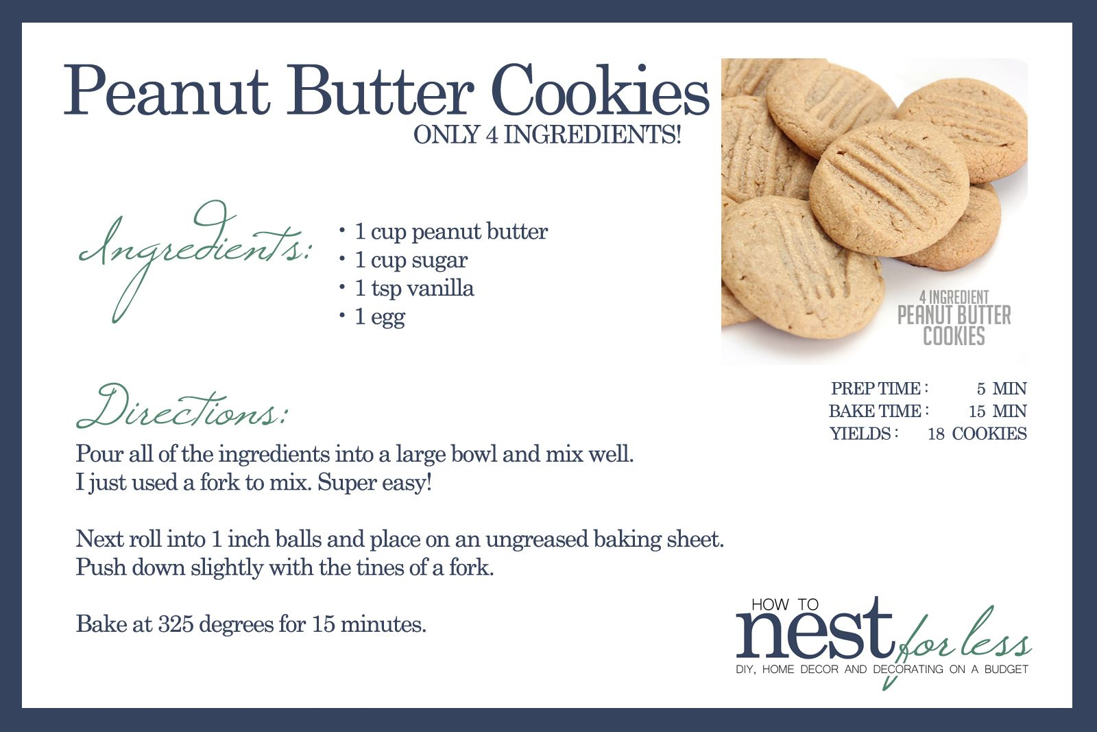 4 Ingredient Peanut Butter Cookies Quick And Easy Recipe Recipe Peanut Butter Cookies Butter Cookies Cookies Recipes Easy Peanut Butter