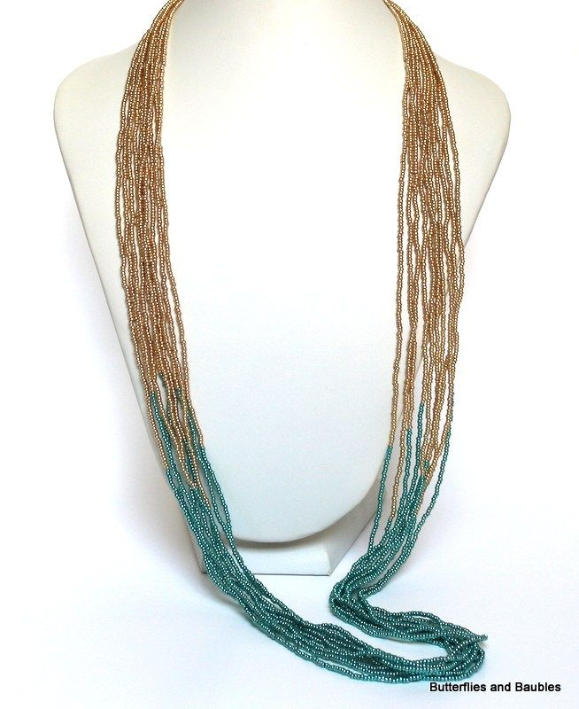 """25/"""" Multi Strand Clear Gold Color Handmade Seed Bead Statement Necklace"""