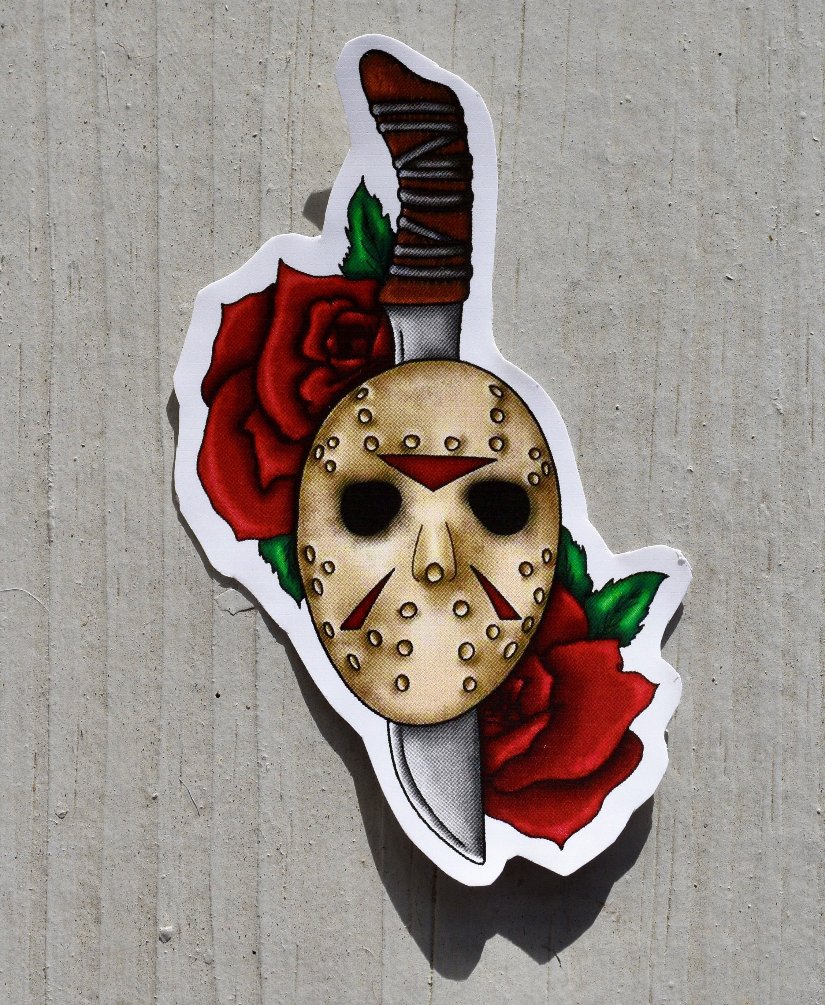 Friday The 13th Sticker Jason Voorhees Mask And Machete Etsy Monster Tattoo Halloween Tattoos Friday The 13th Tattoo