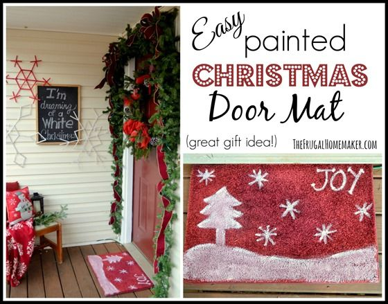 Lovely Easy Painted Christmas Door Mat