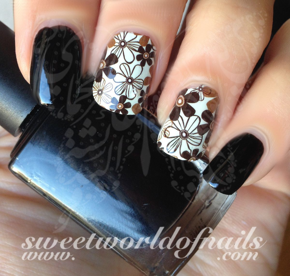 Flower Nail Art Brown Flower Nail Full Water Wraps Decals Water ...