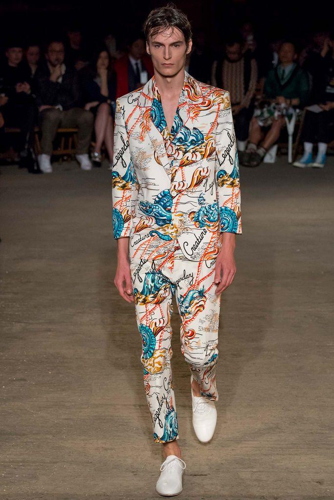 Vintage sea creature print men's suit. Alexander McQueen, Spring 2016 menswear collection.