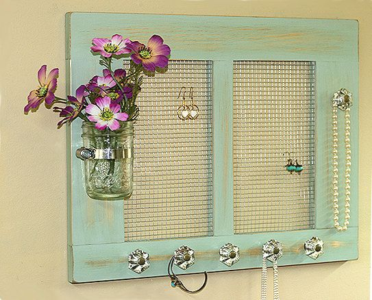 Jewelry Organizer Holder Cottage Shabby Pale Jade Mason Jar 3