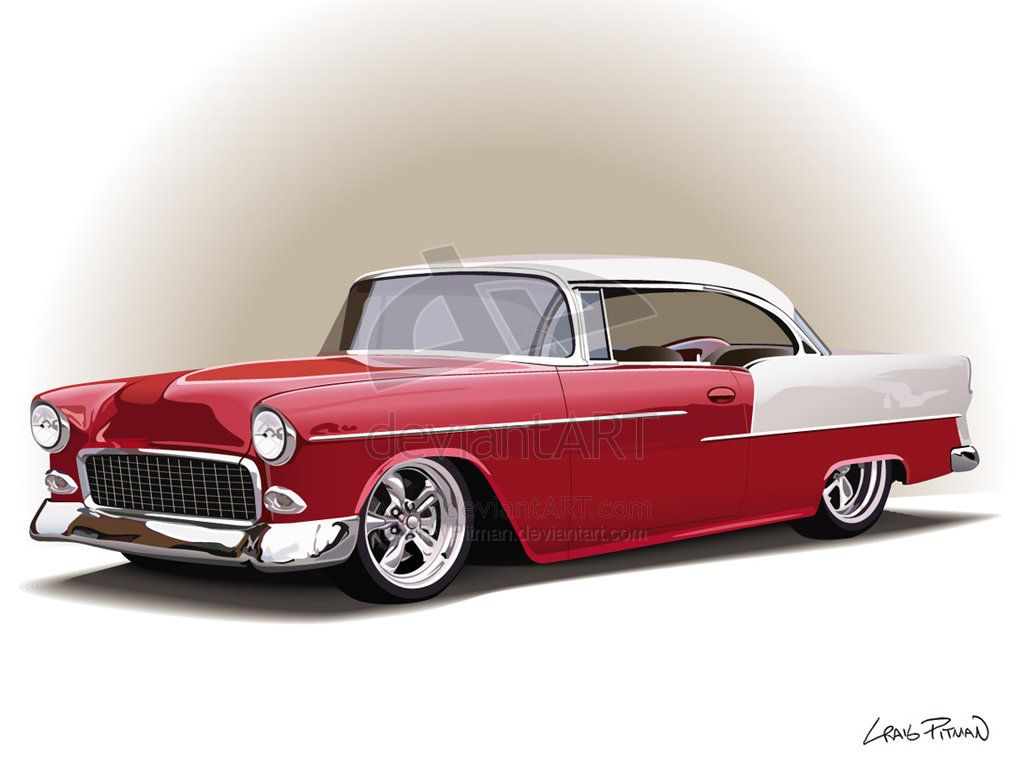 Line Drawing Of Old Cars 55 Chevy Vector By Crwpitman On Deviantart Art Painting Clic