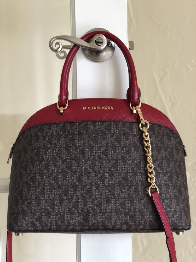 adbad3cde4b7 Michael Kors Emmy Large Dome Satchel Brown Cherry Signature Logo # MichaelKors #Satchel