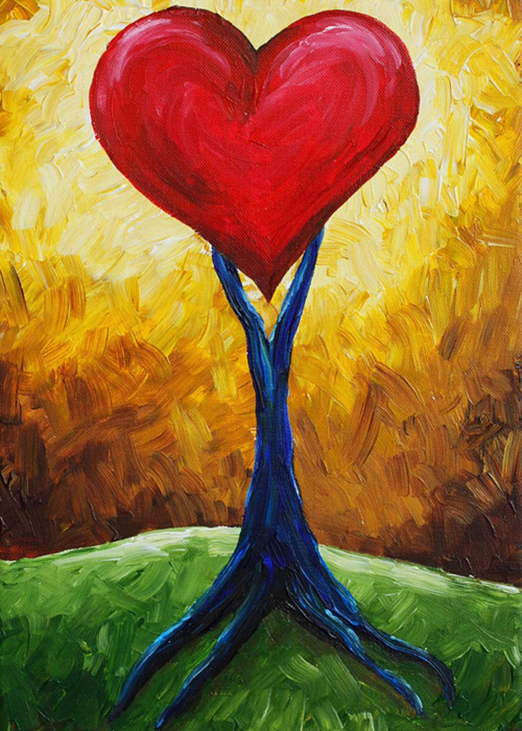 Abstract Paintings Love Hearts