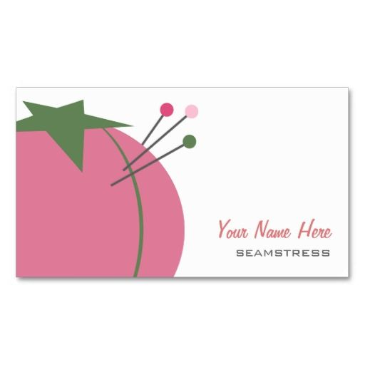 Seamstress Business Card - Pink Pin Cushion Tailor Business - seamstress resume