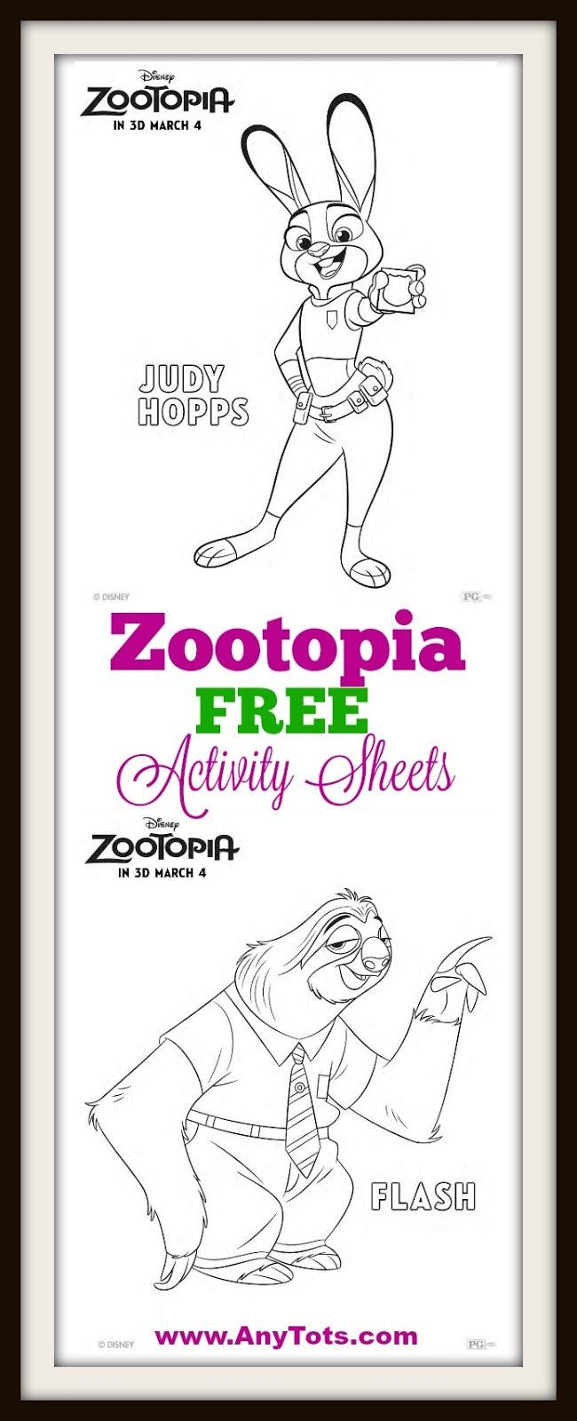 Free printable zootopia coloring sheets and matching game free