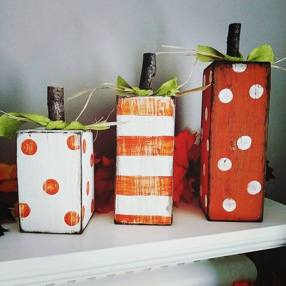 Pumpkin blocks, block pumpkins, wood pumpkins, fall decor, pumpkins, harvest decor, wood blocks, pumpkin decor #falldecorideasdiy
