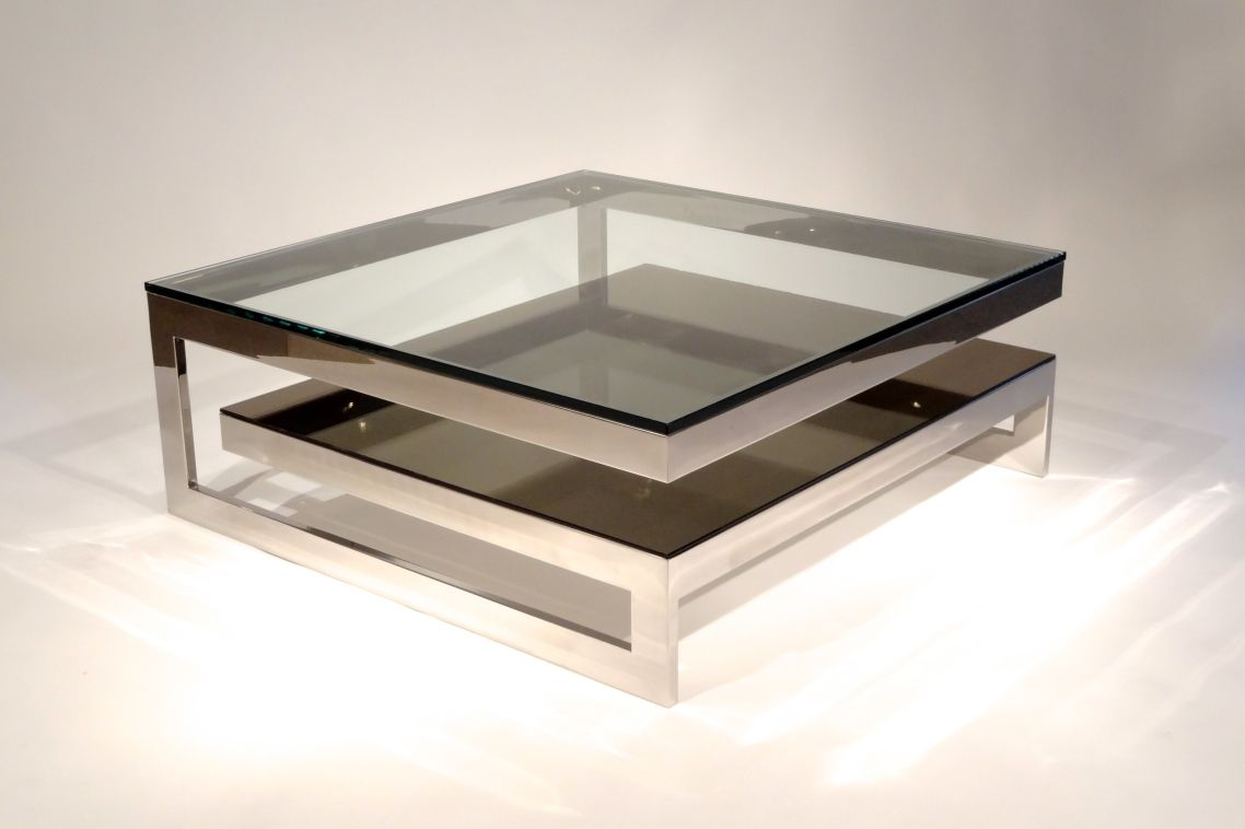 Glass Topped Coffee Tables Modern Futuristic Furnishing Luxury Bronze Black  Glass Coffee Tables Framing Square Tempered