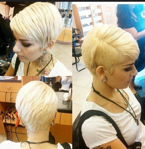 Pixie Haircut With One Side Shaved Layered Straight Short Hairstyles 2017