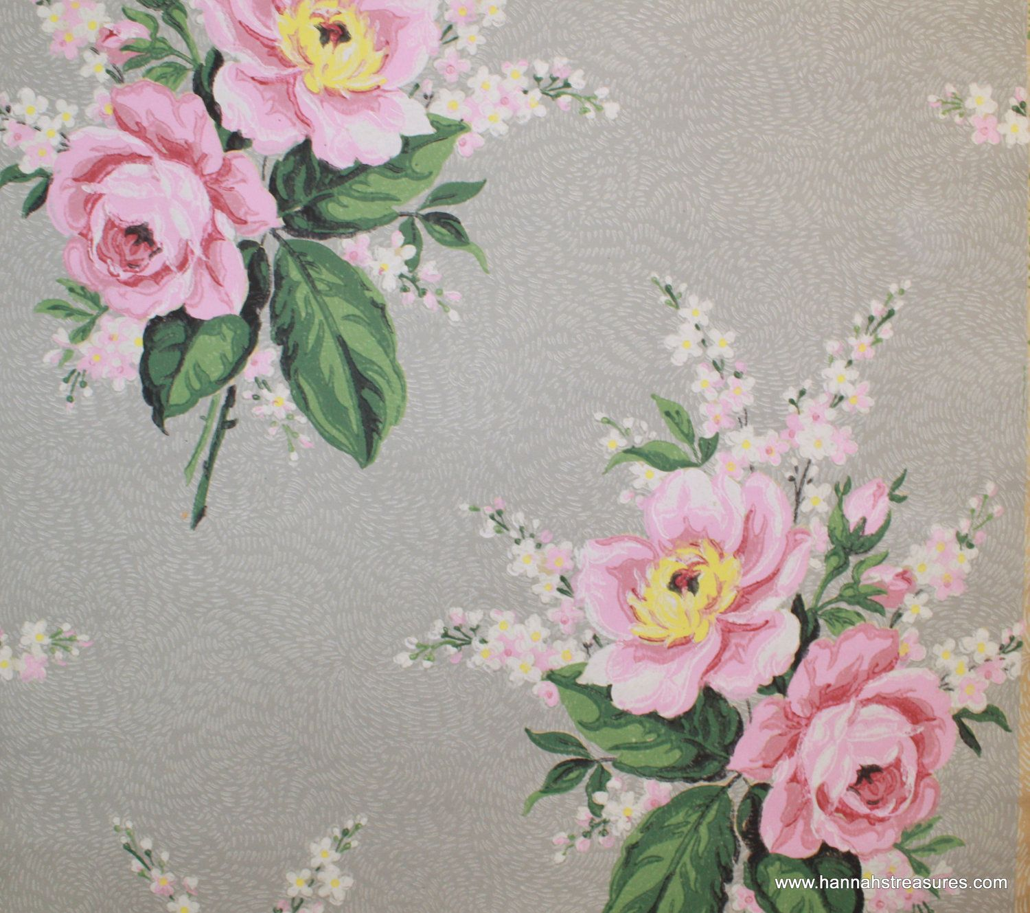 1940s Vintage Wallpaper Pink Rose Bouquets On Gray Background
