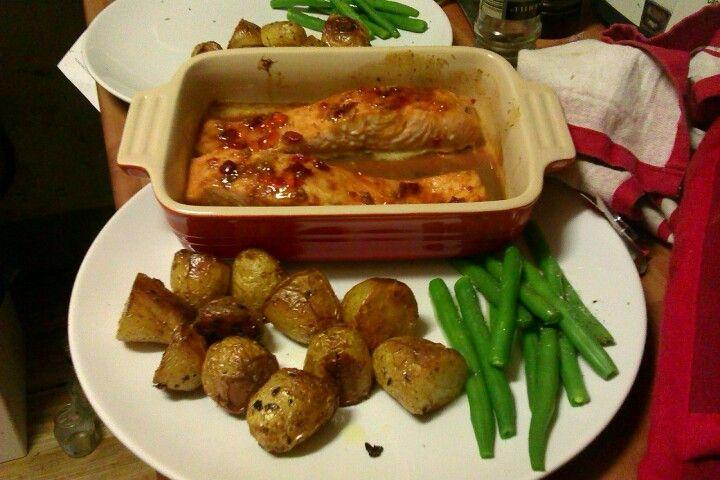 Baked sweet chilli salmon with mini roast potatoes
