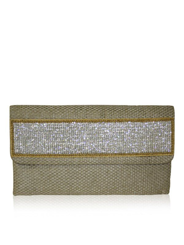 JESSICA by designer Sobayha Accessories from sobayha.com. Long flat clutch in woven effect, with a crystal strip. Available in  Copper, Red, Orange & Cocoa. See more at: https://www.sobayha.com/catalogue/jessica_160/