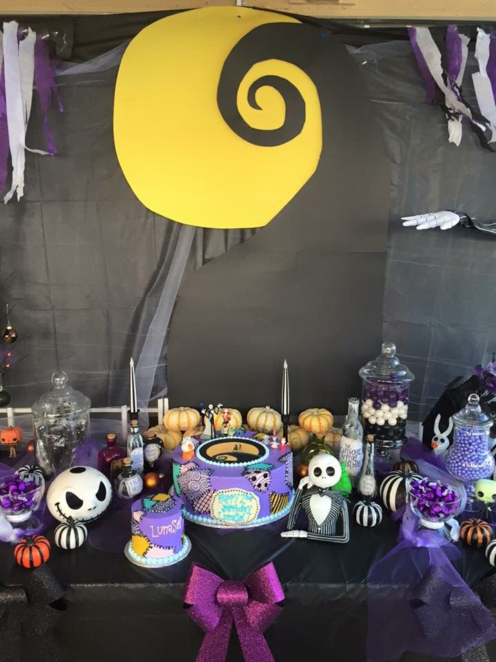 Nightmare Before Christmas Birthday Party Candy & Cake table - Nightmare Before Christmas Birthday Party Candy & Cake Table