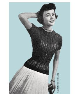 1950s Vintage Knitted Sweater Pattern- Fitted Pullover Sweater Pattern PDF Instant Download