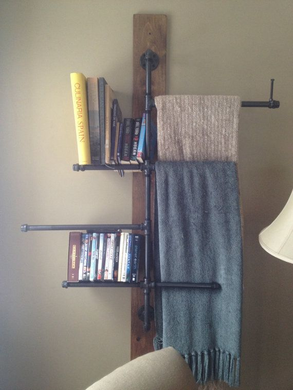 Industrial Pipe Wall Mounted Shelf Bookshelf Organizer Blanket Holder Custom Made To Order