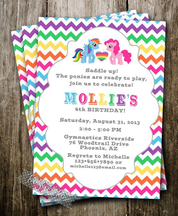 My Little Pony Inspired Invitation Party Raindow Girl Birthday - My little pony birthday party invitation template