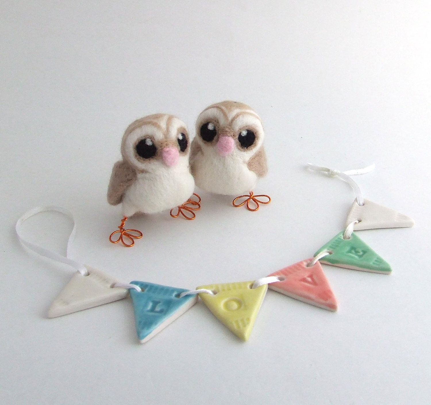 Mini owl wedding cake topper barn owl pair in soft browns with heart