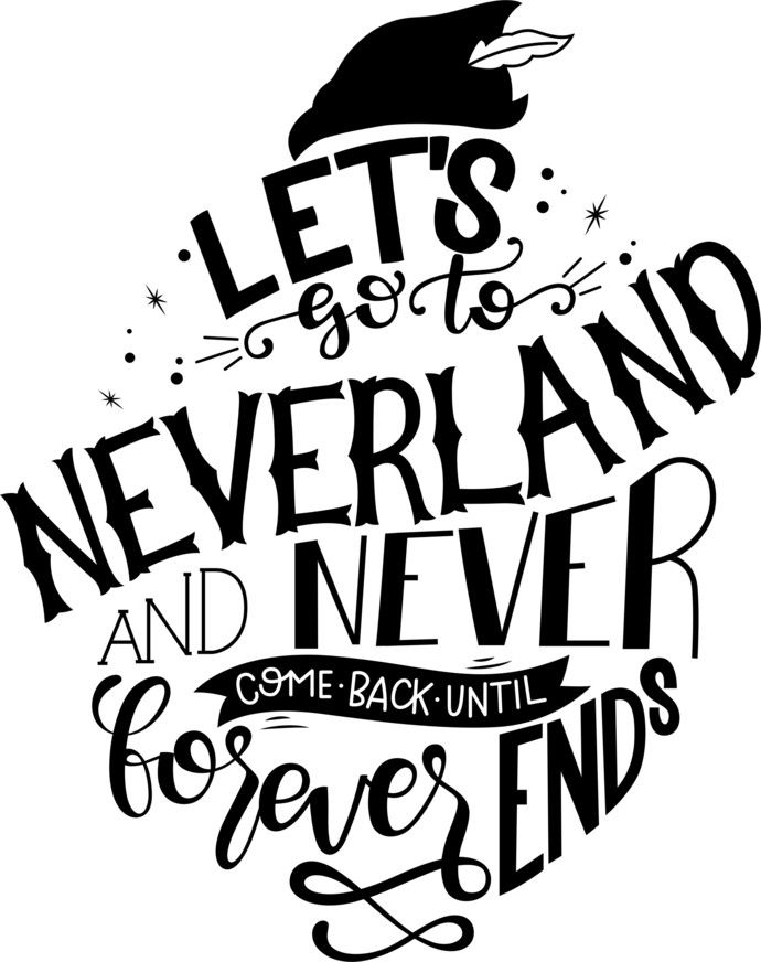 Photo of Lets go to Neverland, Peter Pan, Captain Hook, Lost Boys SVG, Disney, mickey mouse, Walt Disney, Minnie Mouse