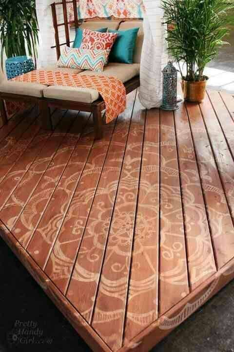 Stencil Your Deck Floor