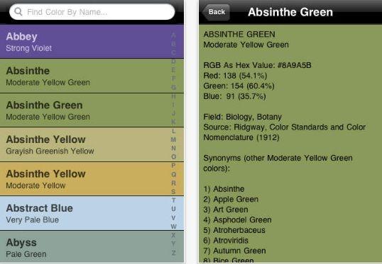 Color Dictionary iphone app iphone app Web design