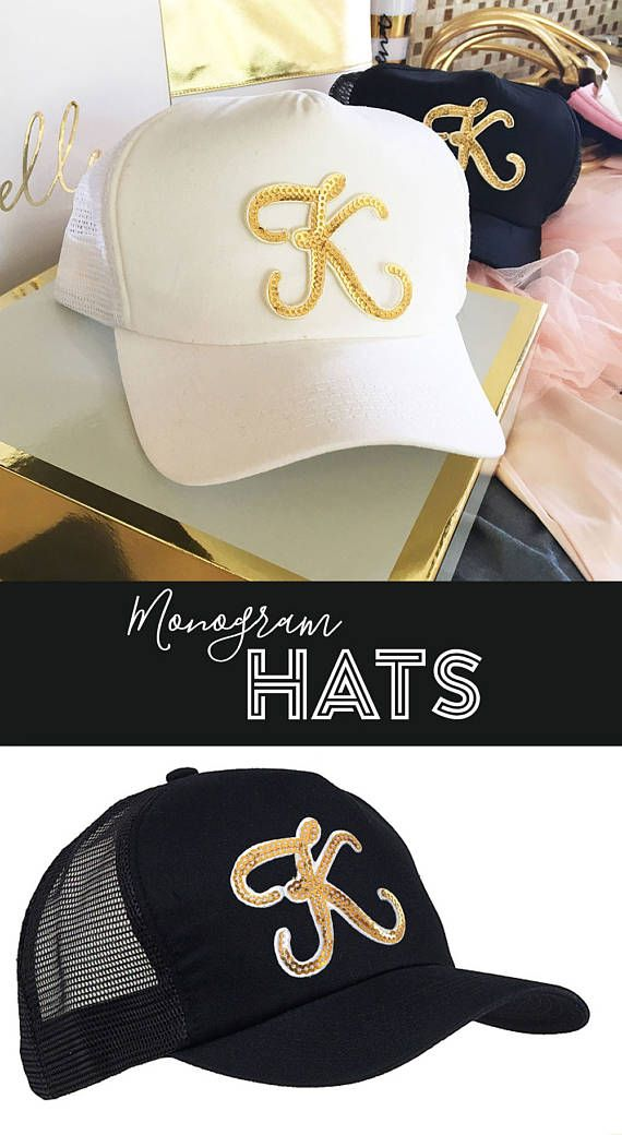 Monogram Trucker Hats are personalized with a gold sequin initial - sure to make  your girl squad stand out in style! 8ac4f22963b4