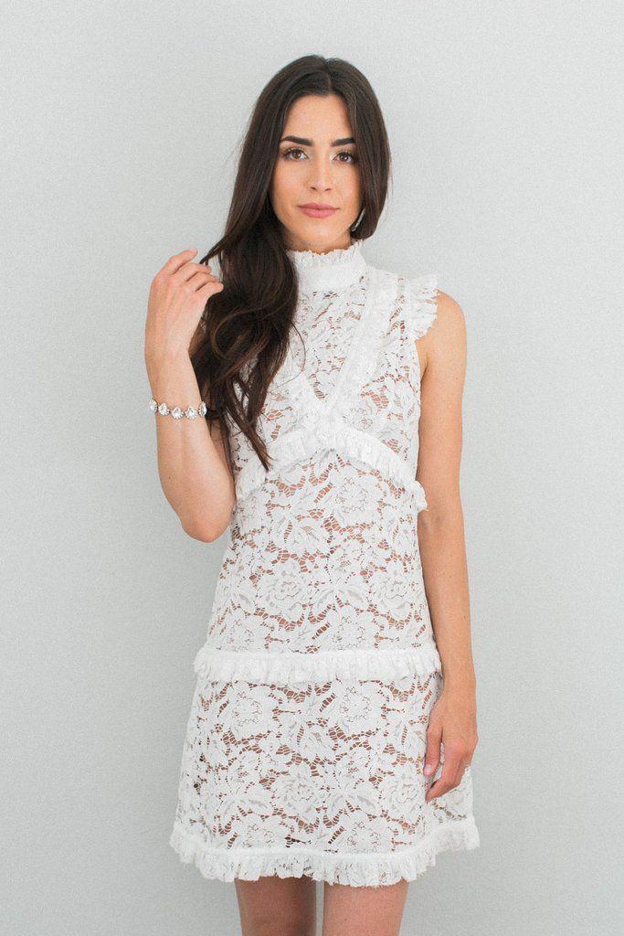 White Lace Reception Dress