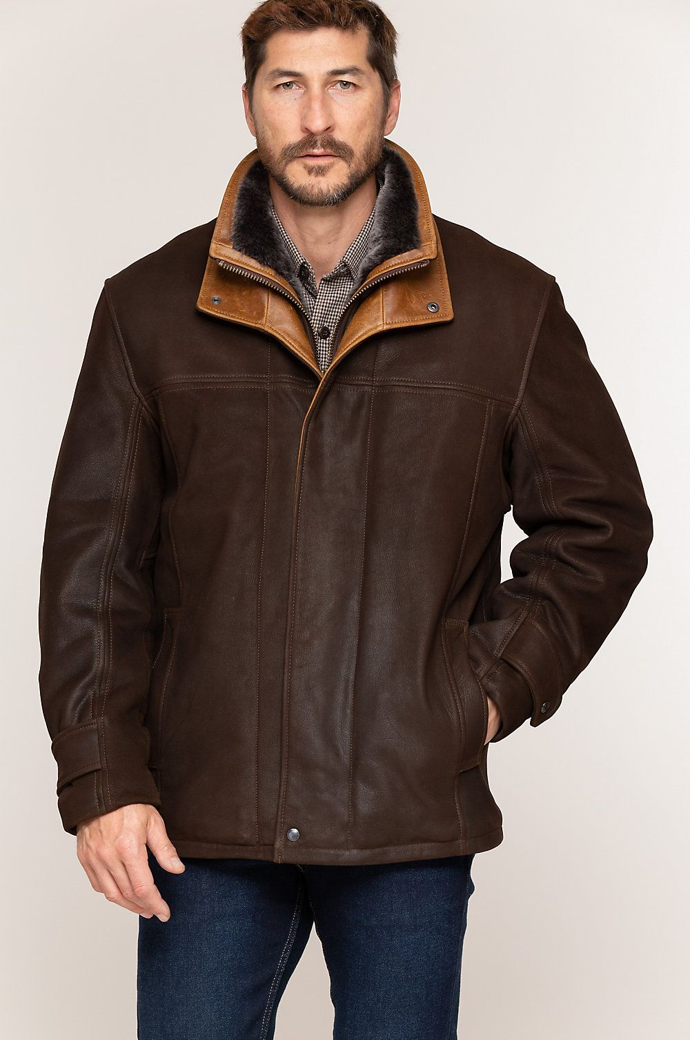 Jack Frost Leather Coat With Spanish Merino Shearling Lining Big Tall 48l 52l In 2021 Leather Coat Mens Leather Coats Sheepskin Coat Mens [ 1507 x 1000 Pixel ]