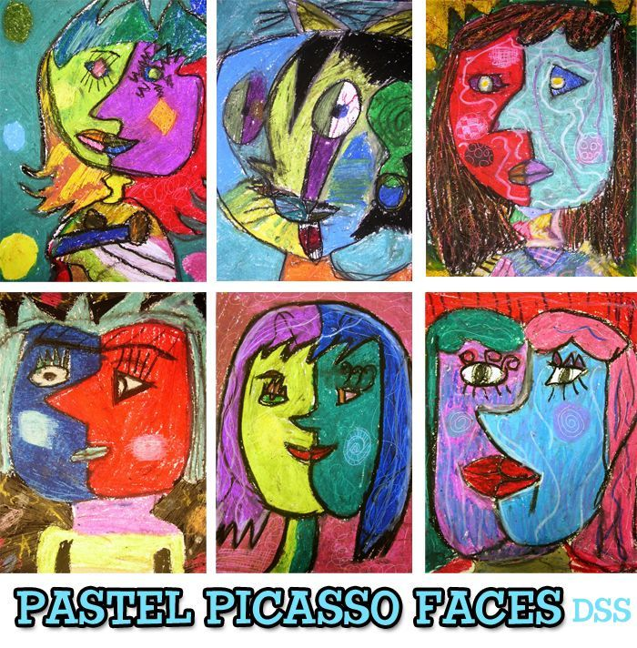 Oil Pastel Picasso Faces Art Lesson Deep Space Sparkle Picasso Art Art Lessons Art Projects
