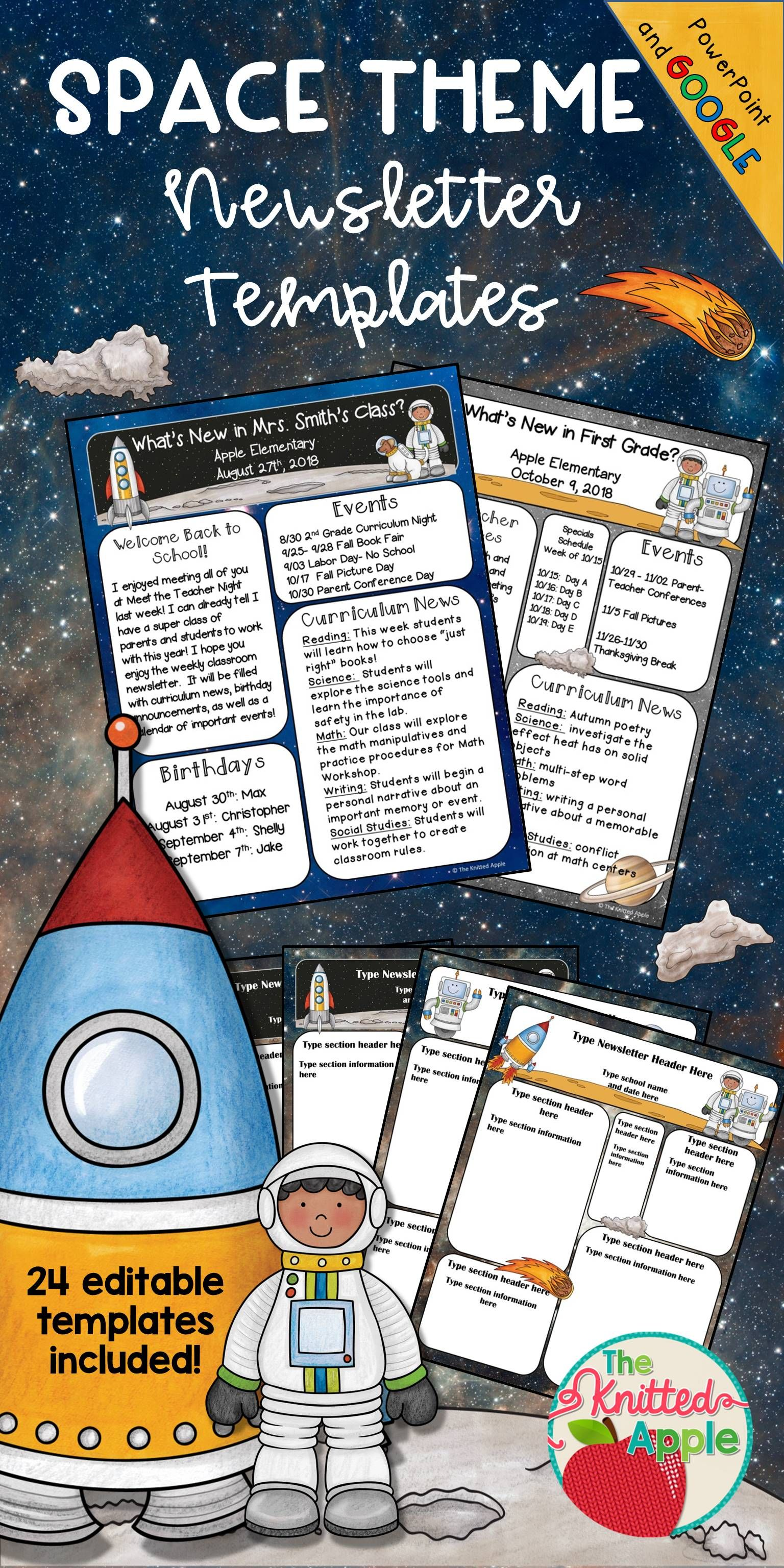 Space Theme Newsletter Templates TpT Misc Lessons