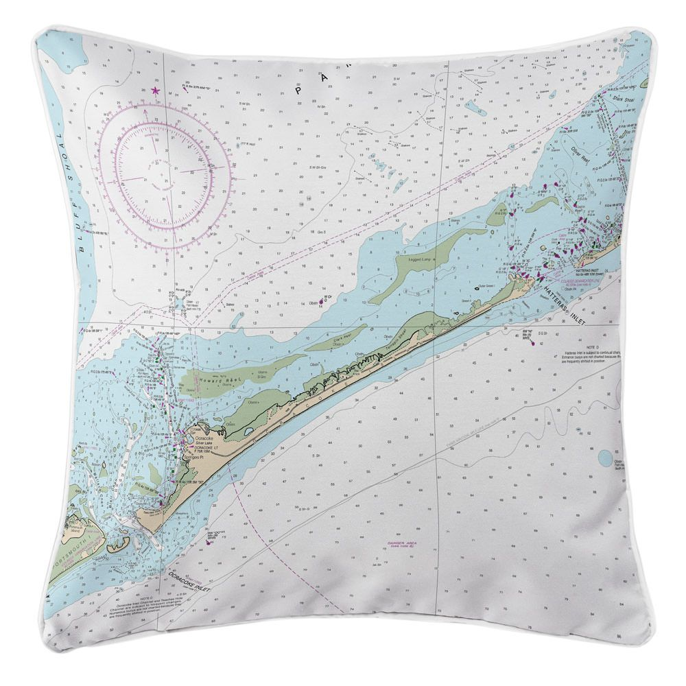 Nc Ocracoke Island Nc Nautical Chart Pillow Coastal Cottage