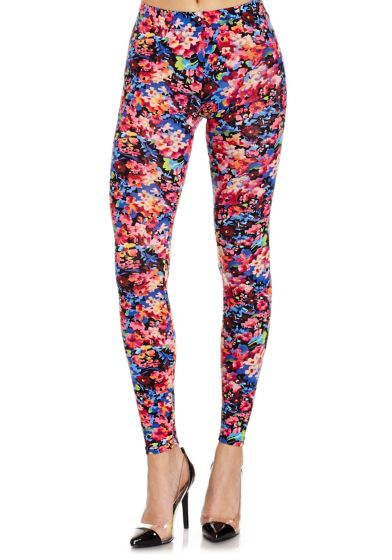 Floral garden. Burst with color wearing our Neon Leggings featuring an elastic waist. Style with sandals or heels.