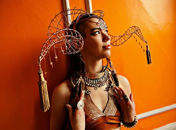 Ram Horn Seductress Headress - made to order by AllThingsEcco on Etsy https://www.etsy.com/listing/200497062/ram-horn-seductress-headress-made-to
