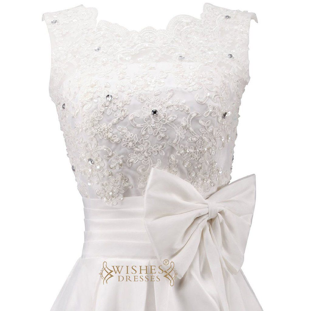 Short white dresses for wedding reception  Pretty Applique and Bowknot Short Wedding Dress Reception Bridal
